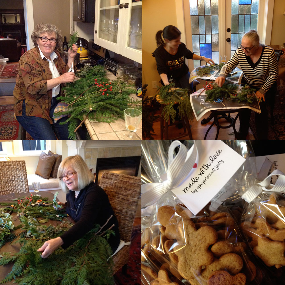 wreath workshop friends